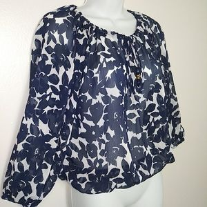 Madison Paige Blue & White Drawstring Blouse